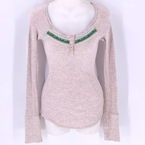 FREE PEOPLE Oatmeal Thermal Top Ribbon Trim Small